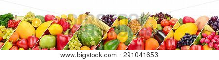 Collection Fresh Fruits And Vegetables Isolated On White Background. Panoramic Collage. Wide Photo W