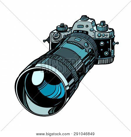 Camera With Telephoto Lens Isolate On White Background. Comic Cartoon Pop Art Vector Retro Vintage D