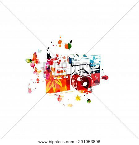 Colorful Retro Photo Camera Isolated Vector Illustration Design. Photography Courses And Photography