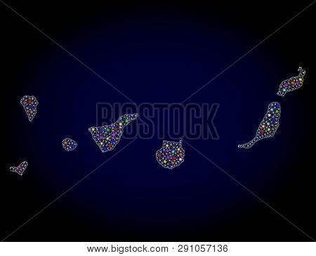 Polygonal Vector Map Of Canary Islands With Glow Effect On A Black Background. Abstract Triangles, L