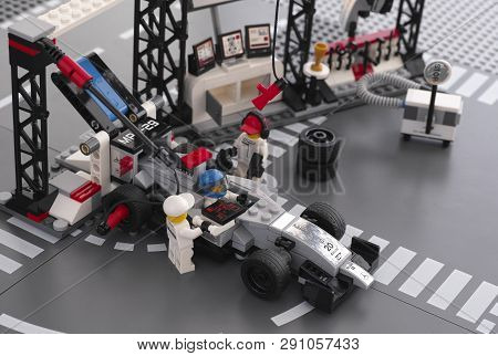 Tambov, Russian Federation - June 24, 2015 Mp4-29 Race Car In Mclaren Mercedes Pit Stop By Lego Spee