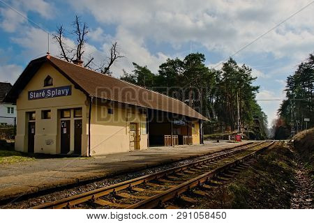 Stare Splavy, Czech Republic - March 06, 2019: Train Station In Village Of Machuv Kraj Region