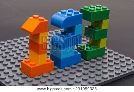 Tambov, Russian Federation - March 27, 2015 Lego Custom Numbers 1, 2, 3 On Lego Gray Baseplate. Blac