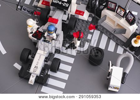 Tambov, Russian Federation - June 24, 2015 Lego Mp4-29 Race Car In Fully Equipped Convertible Mclare