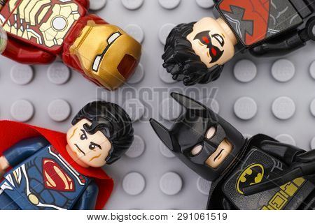 Tambov, Russian Federation - May 12, 2016 Four Lego Super Heroes - Iron Man, Batman, Superman, Night