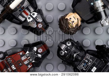 Tambov, Russian Federation - July 06, 2016 Four Lego Star Wars Minifigures - Anakin Skywalker, Tie P