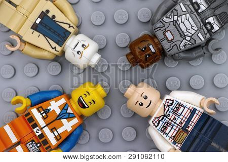 Tambov, Russian Federation - July 06, 2016 Four Lego Minifigures With With Different Color Heads And