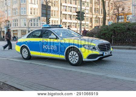 Hamburg, Germany - February 14, 2019: German Polizei Police Car Mercedes-benz In Hamburg.