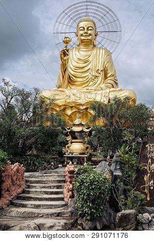Vietnam, Dalat - November 05, 2017: Statue Of Big Golden Buddha In Thien Vien Van Hanh In Dalat City
