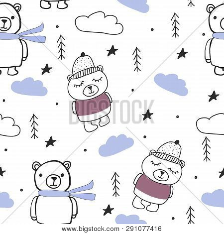 Bears, Trees, Clouds Forest Scandinavian Seamless Pattern For Kids Clothes, Wrapping And Other Purpo