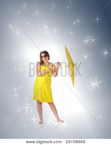 An attractive young teen happy in her sundress, sunglasses and parasol, entering a bright spot and surrounded by stars.