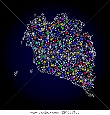Polygonal Vector Map Of Ko Pha Ngan With Glare Effect On A Black Background. Abstract Triangles, Lin