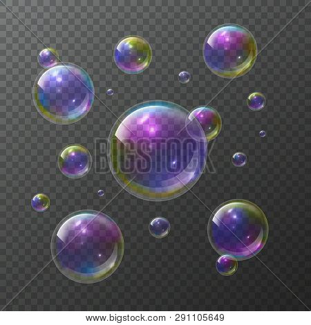 Soap Bubbles. Abstract Foam Bubble Shampoo Clear Soap Rainbow Wash Bubbling Shiny Bubbly Texture Vec