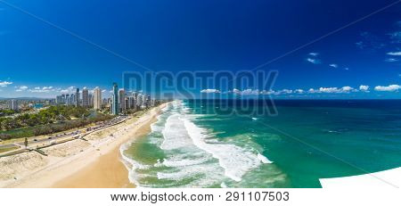 Surfers Paradise beach from an aerial drone perspective, Gold Coast, Queensland, Australia