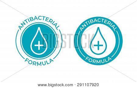 Antibacterial formula product package seal vector drop and cross icon. Antibacterial soap, toilet bath gel cleaner antibacterial sign poster