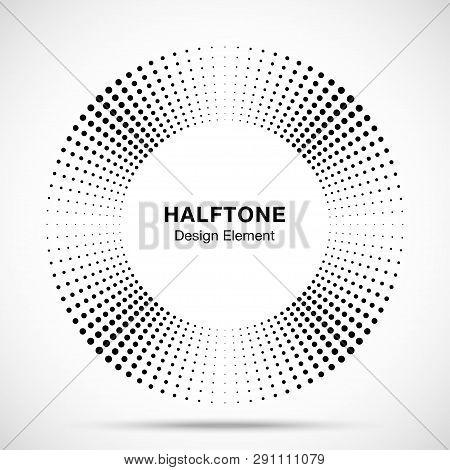 Halftone Music Circle Frame Abstract Dots Logo Emblem Design Element. Half Tone Circular Icon. Disc