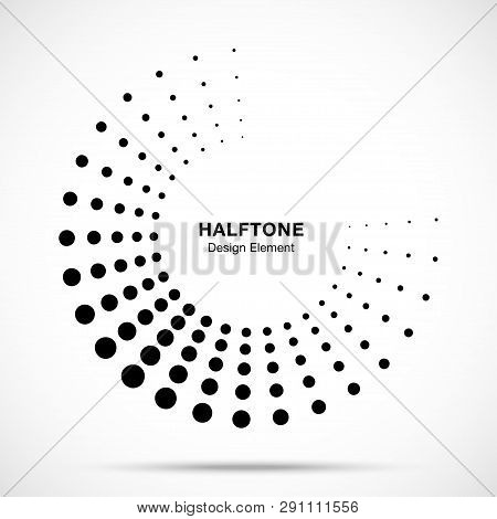 Halftone Dotted Circle Frame Abstract Dots Logo Emblem Design Element For Medical, Treatment, Cosmet
