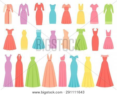 Dress For Women. Vector. Evening, Cocktail And Business Dresses. Dress Apparel Set Isolated. Girl Cl