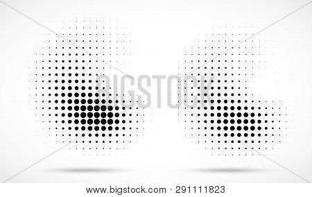 Halftone Dots Curved Gradient Pattern Texture Isolated On White Background Set. Curve Dotted Spots U