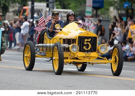 Washington, D.c., Usa - May 28, 2018: The National Memorial Day Parade, A Ford Model T Speedster Dri