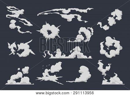 Cartoon Smoke Cloud. Comic Dust Explosion Steam Sprite Motion Game Speed Run Flat Bomb Blast. Vector