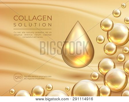 Collagen Background. Cosmetic Skin Care Ad Banner, Beauty Essence And Luxury Face Mask Concept. Vect