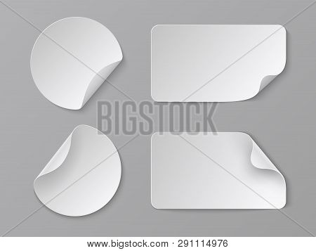 Realistic Paper Stickers. White Adhesive Round And Rectangular Price Tags, Blank Fold Corner Paper M