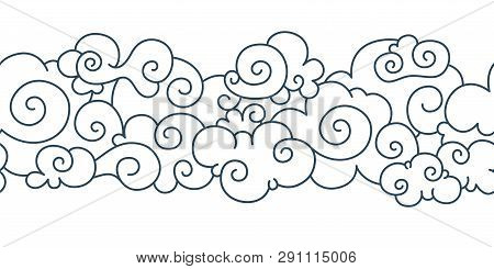 Asian Cloud Pattern. Chinese Japanese Oriental Border Hand Drawn Tibetan Sky Ornament Elements. Vect