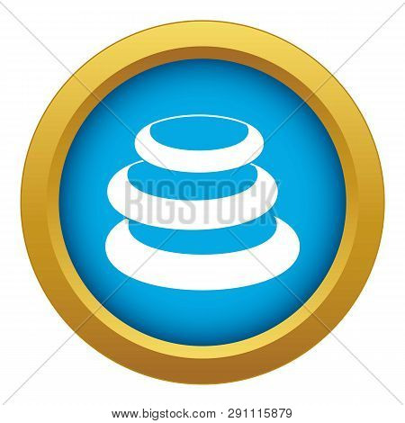 Stack Of Basalt Balancing Stones Icon Blue Vector Isolated On White Background For Any Design