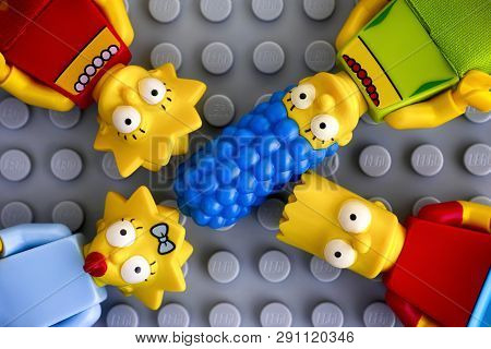 Tambov, Russian Federation - May 20, 2018 Four Lego Simpsons Minifigures - Marge, Bart, Lisa, And Ma