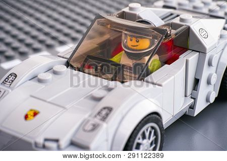 Tambov, Russian Federation - March 14, 2015 Lego Porsche 918 Spyder By Lego Speed Champions With Dri