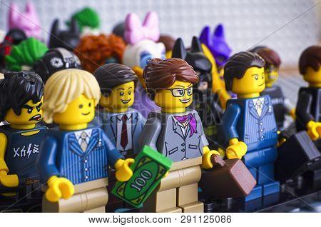 Tambov, Russian Federation - February 05, 2018 Lego Minifigures. Lego Businesswoman And Businessmen