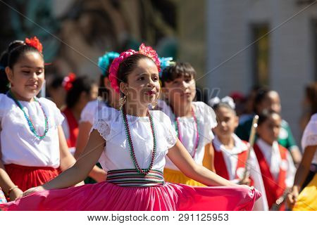 Chicago, Illinois, Usa - September 15, 2018: Pilsen Mexican Independence Day Parade, Mexican Girl, W