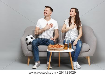 Couple Woman Man Football Fans In White T-shirt Cheer Up Support Favorite Team Singing Hymn With Han