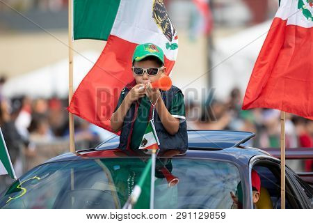 Chicago, Illinois , Usa - September 9, 2018 The 26th Street Mexican Independence Parade, Mexican Boy