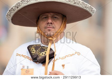Chicago, Illinois , Usa - September 9, 2018 The 26th Street Mexican Independence Parade, Mexican Man