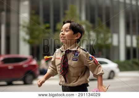 Houston, Texas, Usa - November 11, 2018: The American Heroes Parade, Boy, Members Of The Boy Scouts,