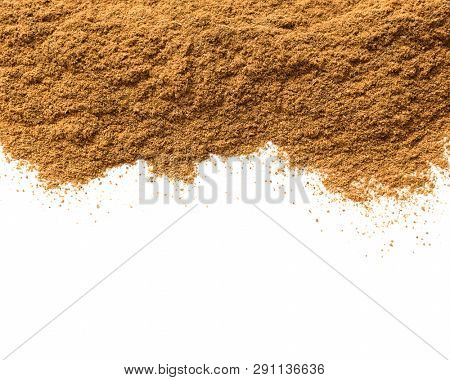 Ceylon cinnamon powder on a white background