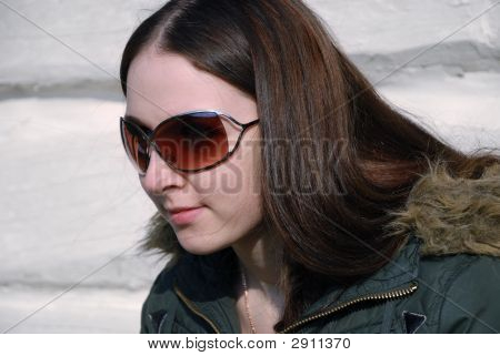 Teenager Long-Haired Girl In Brown Sunglasses, Half Face
