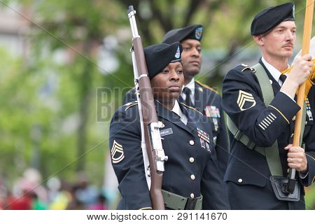 Louisville, Kentucky, Usa - May 03, 2018: The Pegasus Parade, United States Army Troops, Marching Do