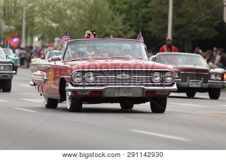 Louisville, Kentucky, Usa - May 03, 2018: The Pegasus Parade, A Chevrolet Impala Classic Car, Going