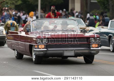 Louisville, Kentucky, Usa - May 03, 2018: The Pegasus Parade, A Cadillac Caddy Classic Car, Going Do