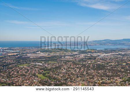 Aerial View Of Urban Sprawl Of Wollongong City In Australia. Suburban Coastal Areas, Urban Sprawl