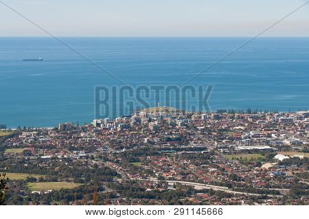 Aerial View Of Wollongong City Centre With Lighthouse Landmark On Hill. Aerial Landscape Australia