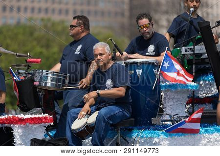 Chicago, Illinois, Usa - June 16, 2018: The Puerto Rican Day Parade, Men Playing Traditional Puerto