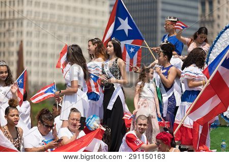 Chicago, Illinois, Usa - June 16, 2018: The Puerto Rican Day Parade, Puerto Rican Beauty Queens On A