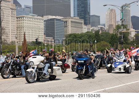 Chicago, Illinois, Usa - June 16, 2018: The Puerto Rican Day Parade, Puerto Rican Bikers Riding Moto