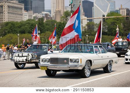 Chicago, Illinois, Usa - June 16, 2018: The Puerto Rican Day Parade, Chevrolet Cars Donk Modified Ca