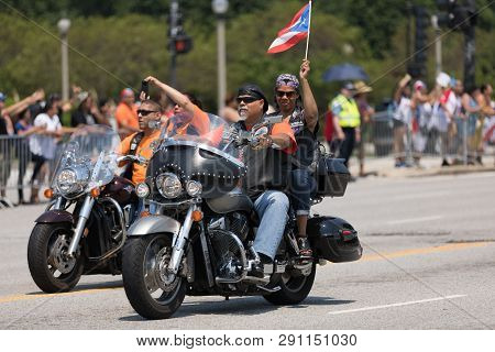 Chicago, Illinois, Usa - June 16, 2018: The Puerto Rican Day Parade, Members Of The Puerto Rico Moto