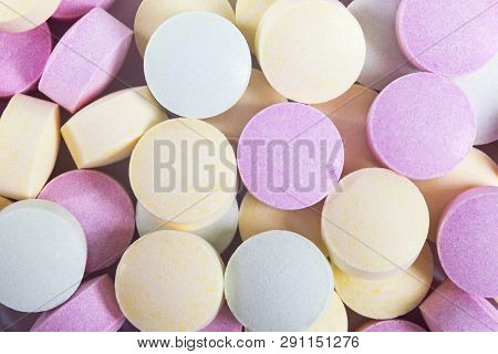 Colorful Medicine Pills And Drugs In Close Up. Different Kinds Of Multicolored Tablets. Assorted Pil